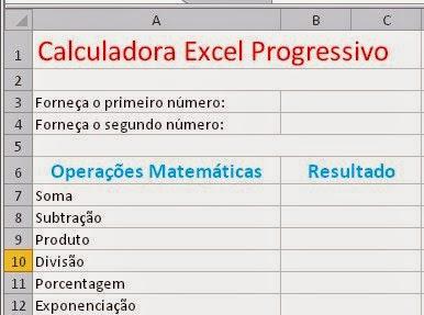 Formatação no Excel - Planilha de uma Calculadora