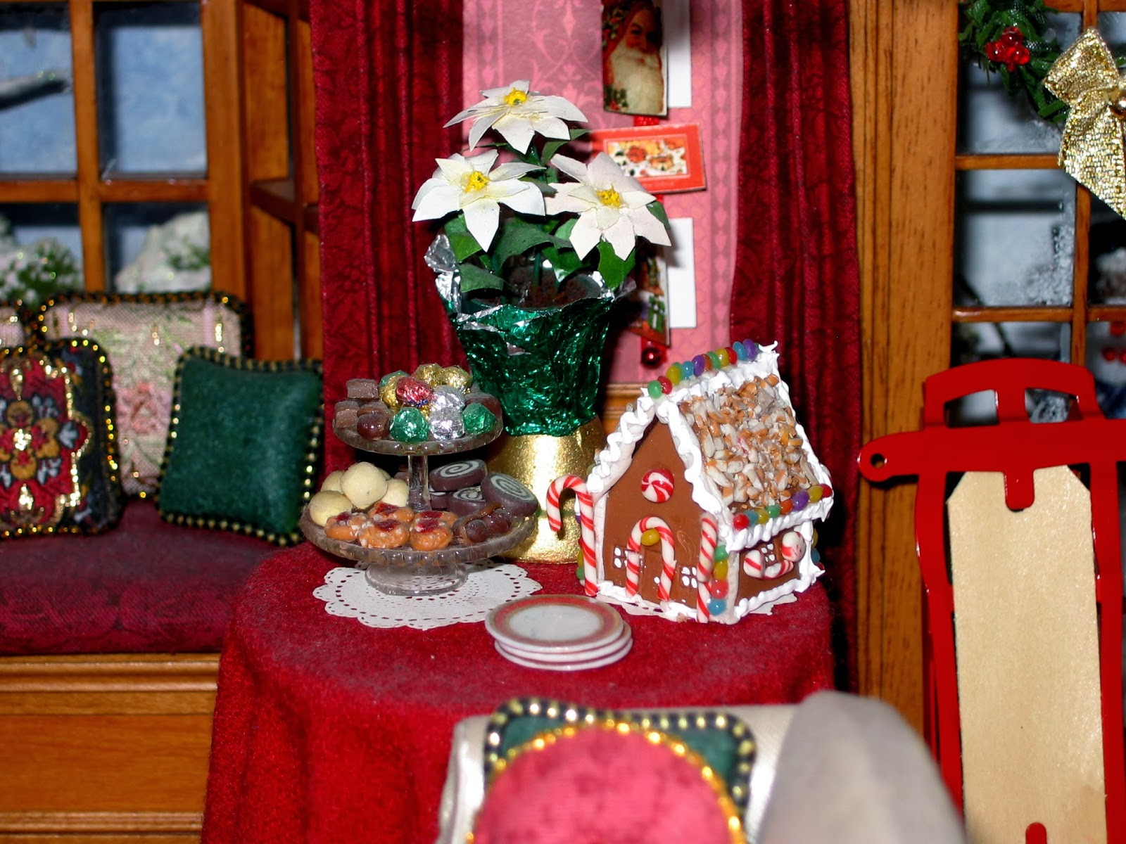 Blukatkraft Dollhouse Miniatures Christmas Room Box 1 12
