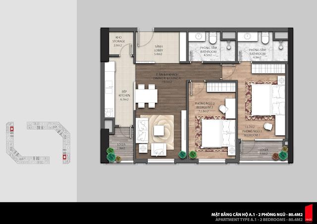 Thiết kế căn A.1 diện tích 80,4m2 chung cư The Emerald
