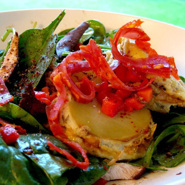 Warm Spinach Salad /Individual Spanish Tortillas