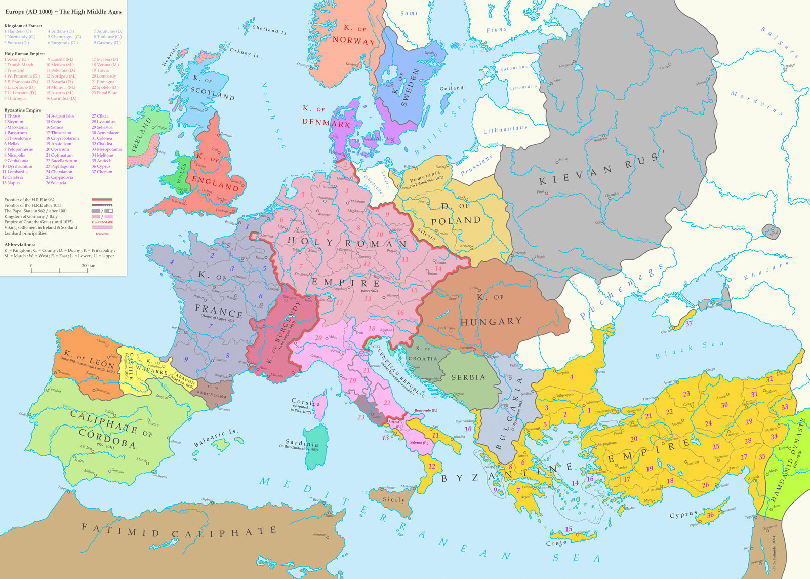 Map of Europe in 1000 A.D.