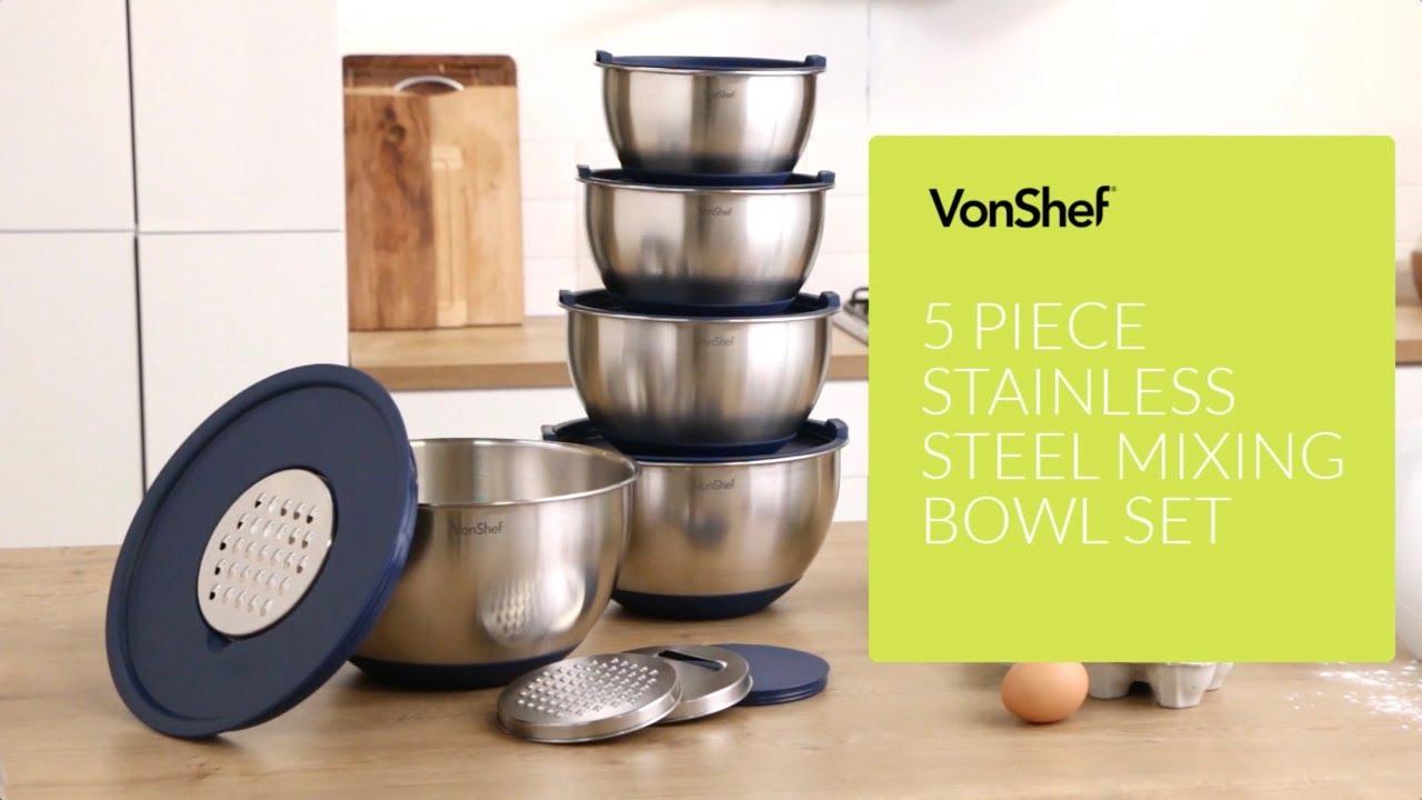 VonShef 5 Piece Mixing Bowl Set
