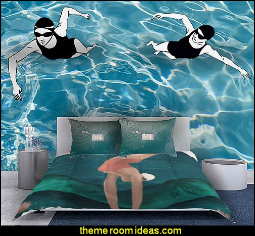 swimmer bedding  swimming pool theme bedroom ideas - Pool Bedroom - Swimming pool themed bedroom - swimming pool theme bedroom mural ideas - swimming theme decor - Swimmer Wall Decal - swimming pool bedroom ideas - swim themed bedrooms - swimming room decor - swimmers mural - Swim decor - swimmer bedding - swimming throw pillows - Swimming Swim Swimmer sports