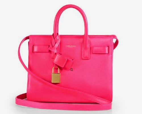 YSL Saint Laurent Classic Small Sac De Jour Bag in Fuchsia Hot Pink Leather  324823 5612 00008195531a6