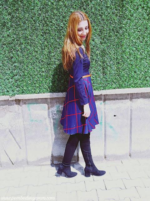 kloş elbise çizme kombini