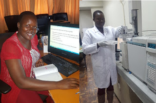 Caroline Koech, an environmental chemist in Kenya participating in the online course & carrying out laboratory analysis