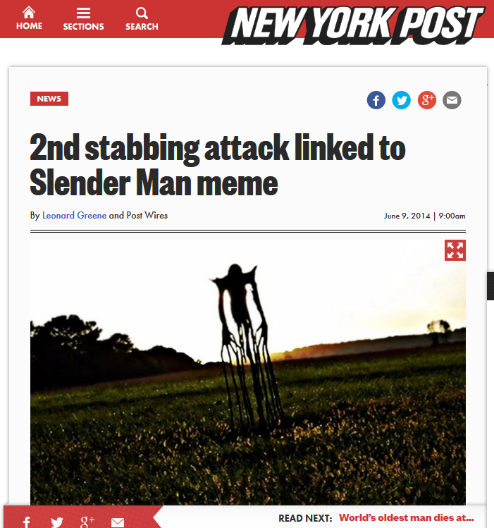 http://nypost.com/2014/06/09/2nd-teen-stabbing-attack-linked-to-slender-man-meme/