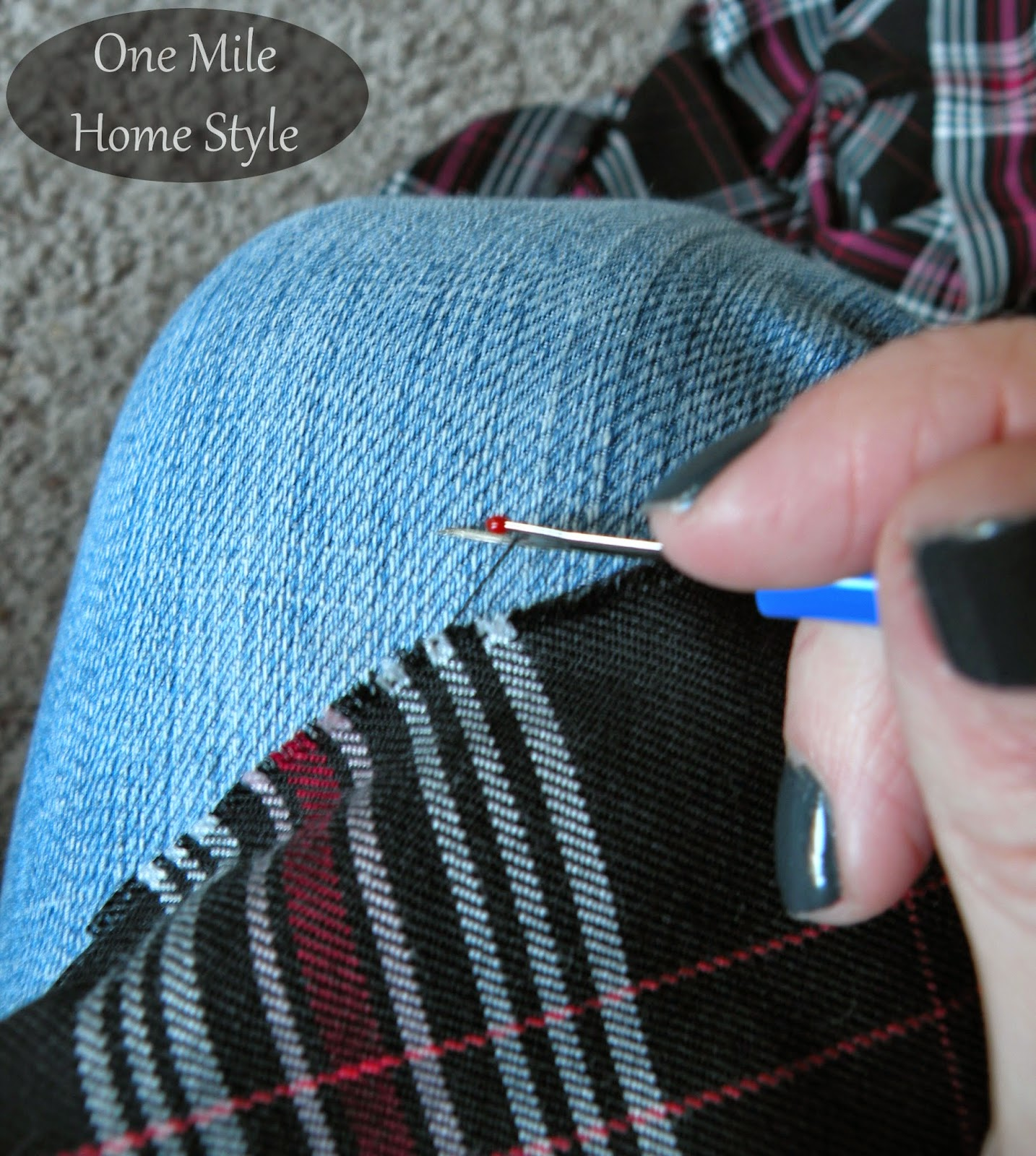 DIY Plaid Blanket Infinity Scarf | One Mile Home Style - Frayed Scarf Edges