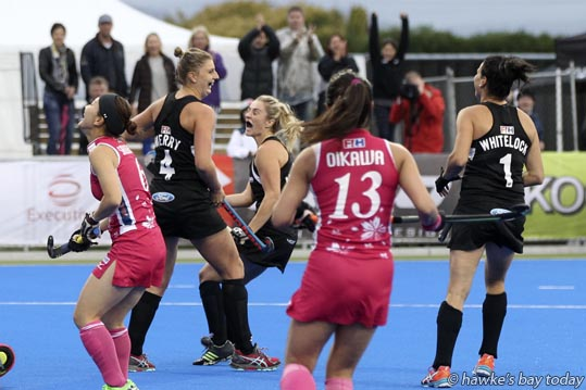 Second left: No 4 Olivia Merry, scored the first goal for the New Zealand Black Sticks who went on to beat Japan 3-2 in the final of the Festival of Hockey, Hawke's Bay Regional Sports Park, Hastings. photograph