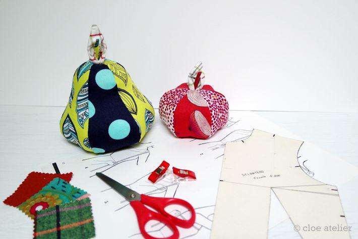 Pesas para patrones de costura con forma de frutas