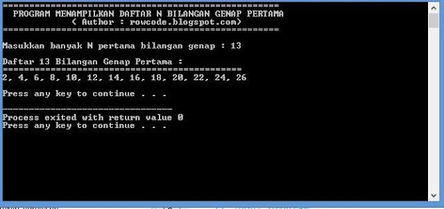 Program dan kode bahasa c menampilkan N bilangan genap