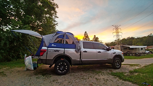 Nissan Titan XD Diesel with fitted tent accessory