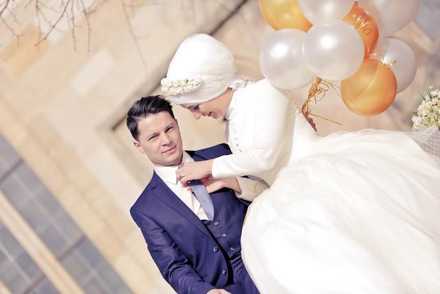 tesettür düğün fotoğrafları dış çekim ve türbanlı gelin fotoğrafları