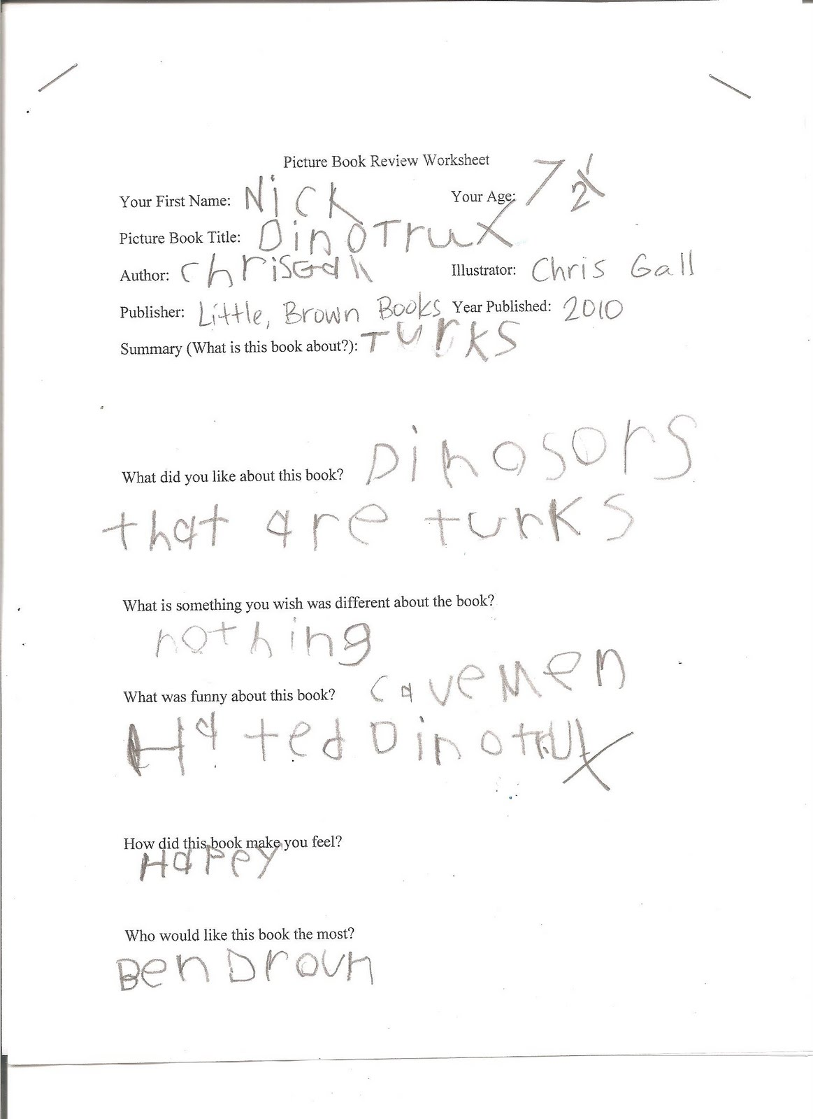 Book Review Worksheet Dr