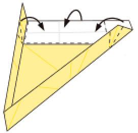 Bước 11: Gấp đồng thời 3 cạnh giấy lên