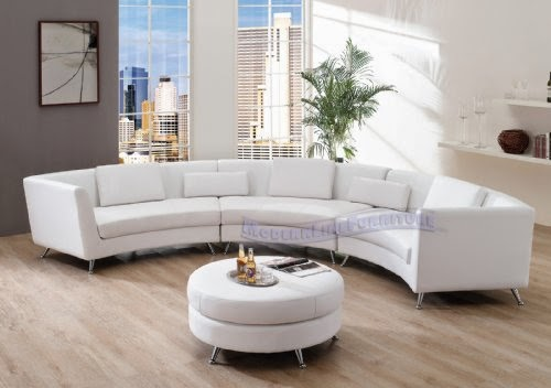 Contemporary White Leather Curved Long Sectional Sofas