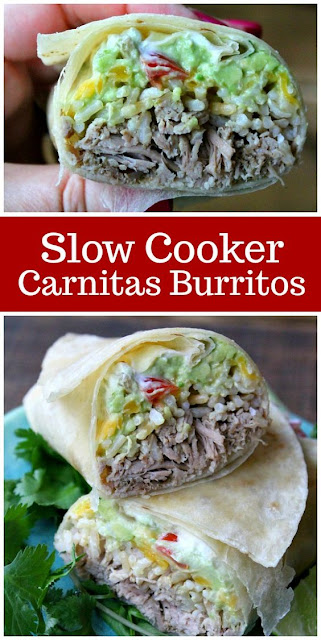 Slow Cooker Carnitas Guacamole And Rice Burritos