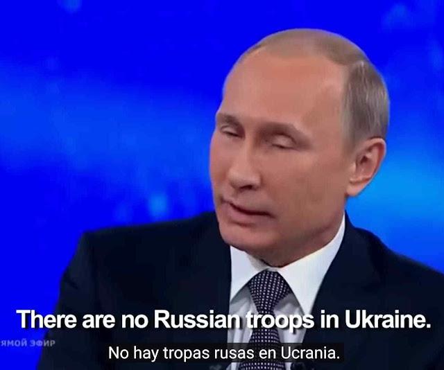 Putin garante na TV não haver soldados russos lutando pelo separatismo na Ucrânia. A prova da mentira apareceu pouco depois.