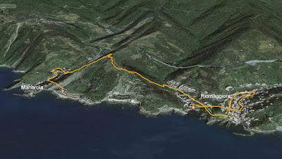 GPS Cinque Terre da Riomaggiore a Manarola