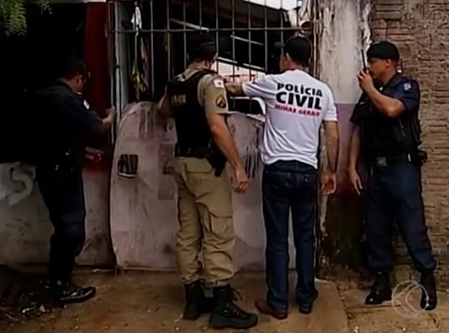 As polícias Militar, Civil, e Guarda Municipal fazem operação em Uberaba (MG)