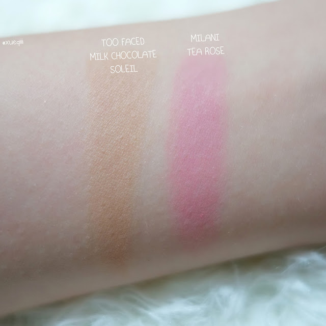 Milani Powder Blush in Tea Rose Too Faced Milk Chocolate Soleil Swatch
