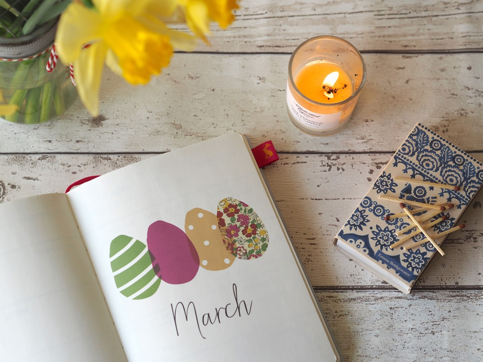 March Diary, Flowers & Candle