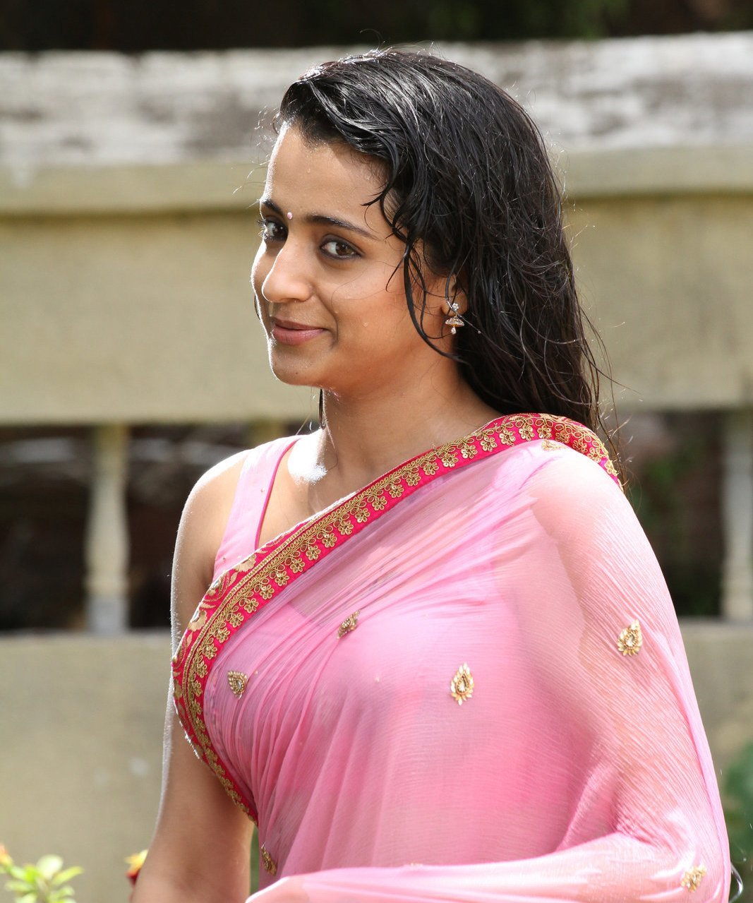 Trisha Krishnan Photos In Pink Saree From Kalavathi