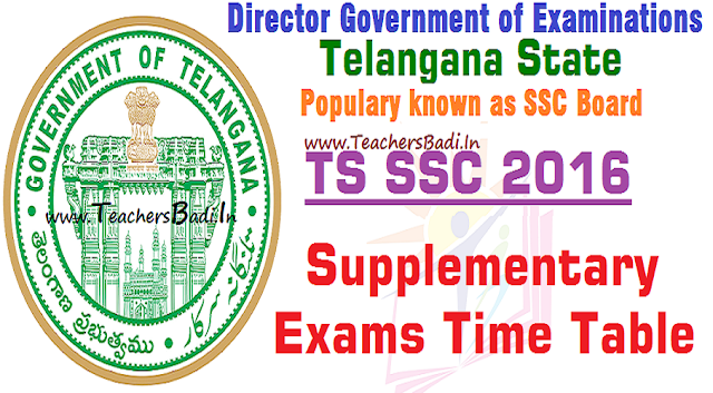 TS SSC,Supplementary Exams,Time Table