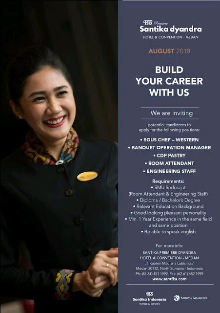Lowongan kerja Santika Premiere Dyandra Hotel & Convention Medan 2018