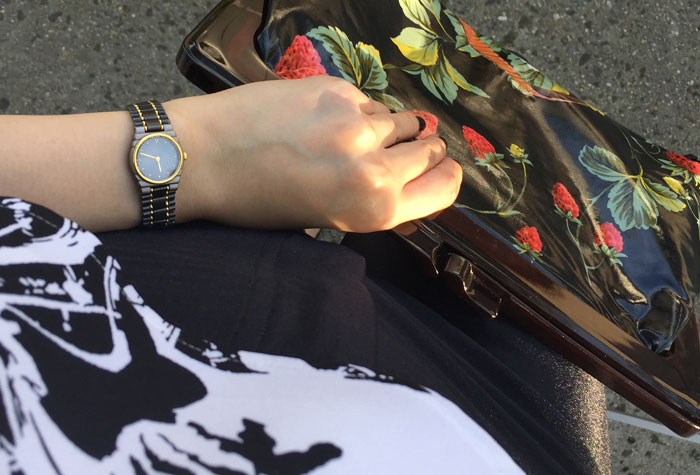 Outfit details with vintage watch and vintage bag