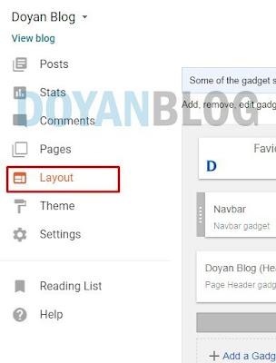 masuk ke blogger dan pilih layout