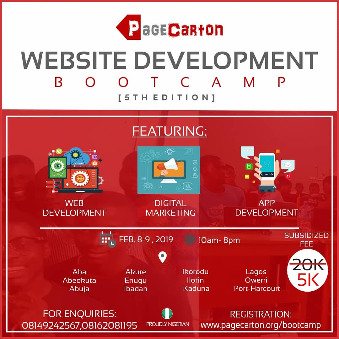 Register for PageCarton Website Development Bootcamp