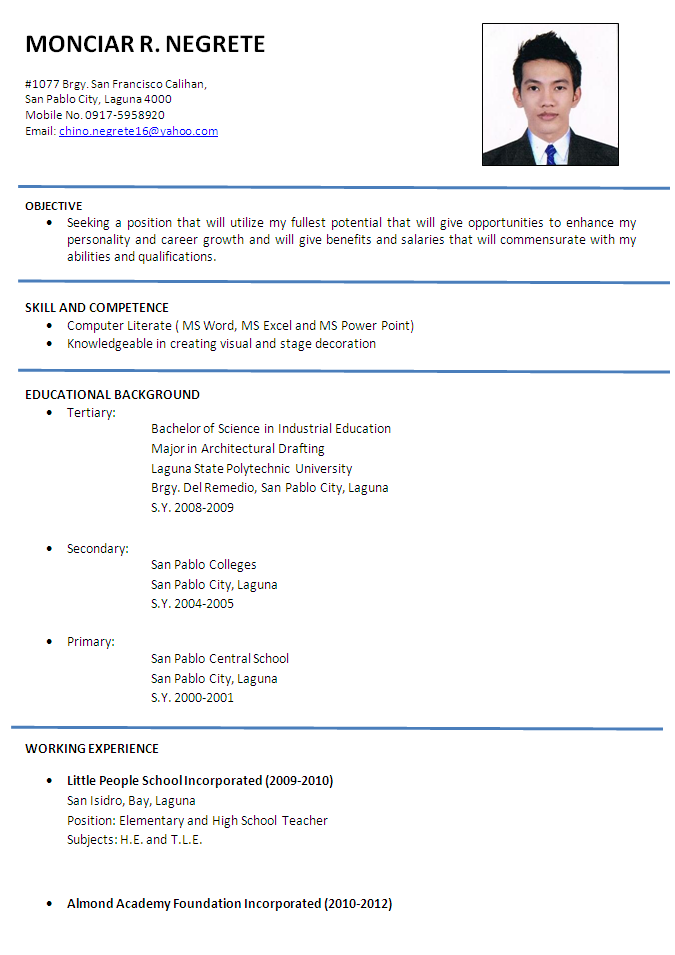 Example Resume Format. Sample Resume 85 Free Sample Resumes By