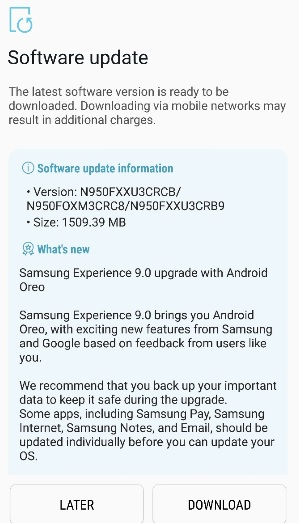 Android Oreo update Galaxy Note 8