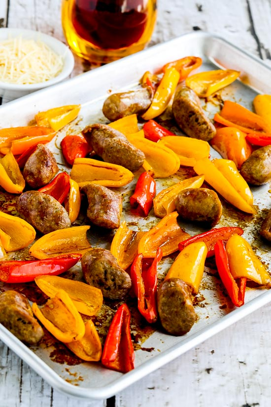 Low-Carb Roasted Italian Sausage and Sweet Mini-Peppers Sheet Pan Meal found on KalynsKitchen.com