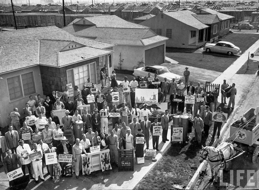 Door to door salesmen ready to hit the streets in a new 1950s housing development. The Burbs and Other stories of Marketing the American Dreams. Marchmatron.com