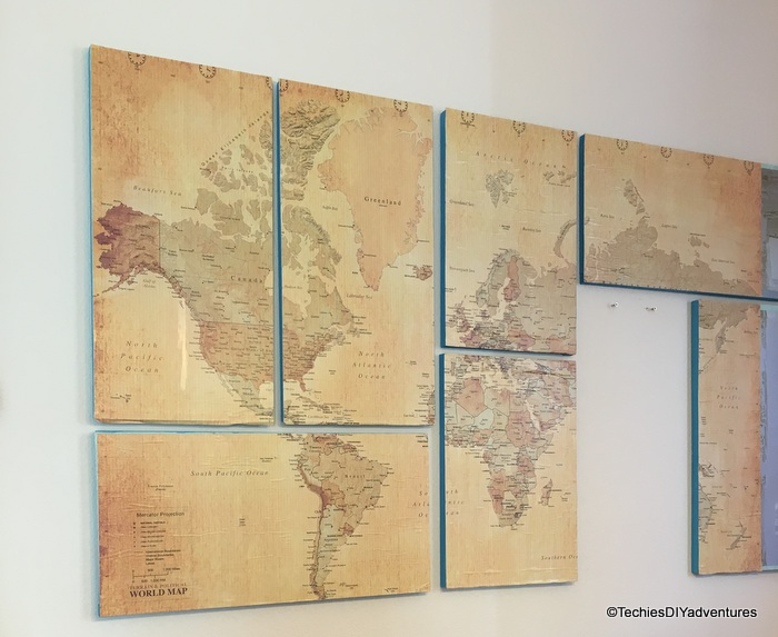 Best To hang the map wall art we used two nails per piece Each peice just rests on the nails