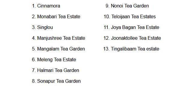 list of tea gardens in assam