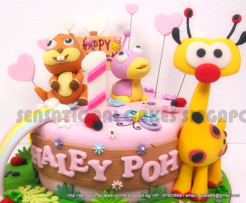 BABYTV CAKE SINGAPORE Tulli Is The Purple Color Slug And Giraffe Squirrel 1ST BIRTHDAY BABY FIRST TV