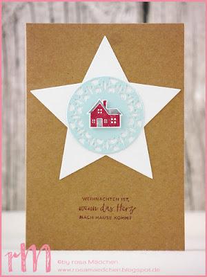 Stampin' Up! rosa Mädchen Kulmbach: Weihnachtskarten mit Weihnachten daheim, Framelits Stickmuster und Thinlits Fröhliche Anhänger