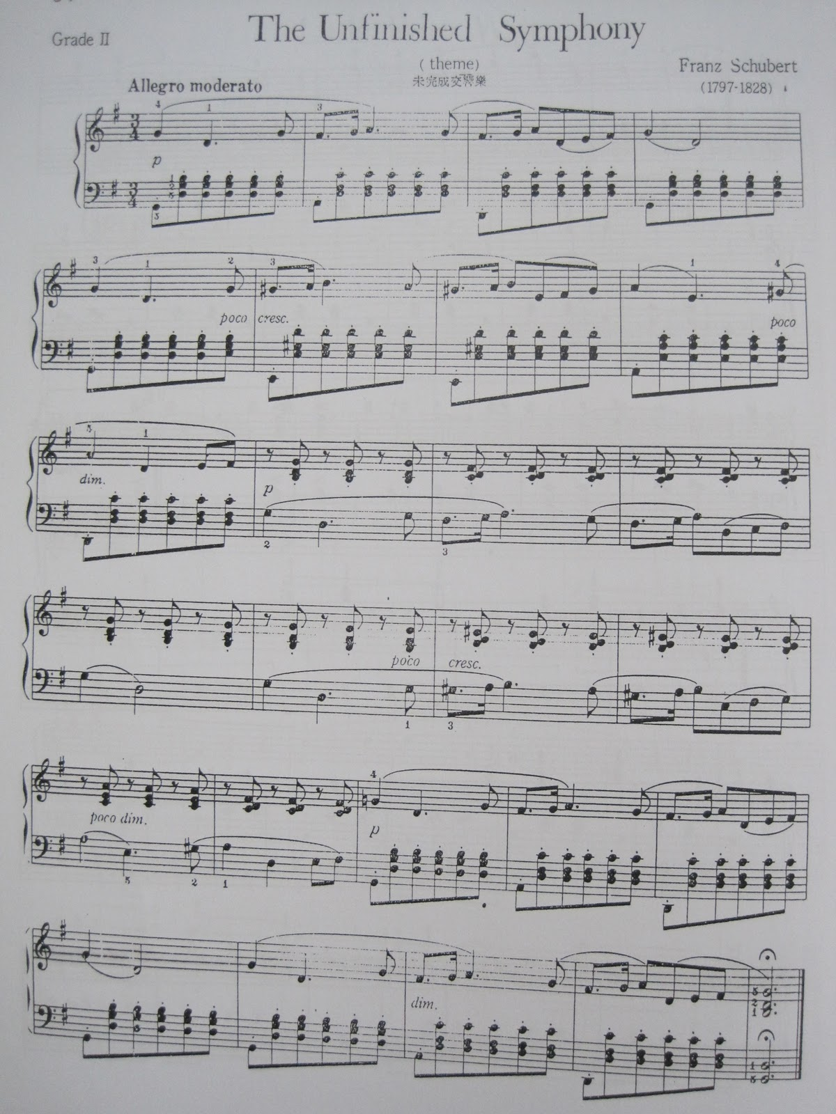 Unfinished Symphony by Schubert Piano Sheet | Piano in My Life