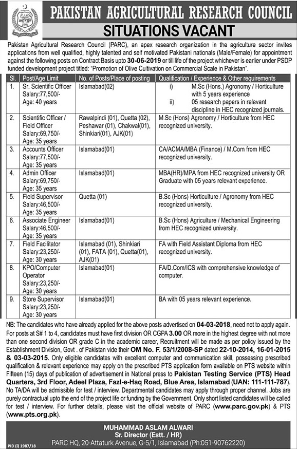 Pakistan Agriculture Research Council Jobs, Pakistan Agriculture Research Council Islamabad Jobs, PTS Pakistan Agriculture Research Council Jobs , PTS