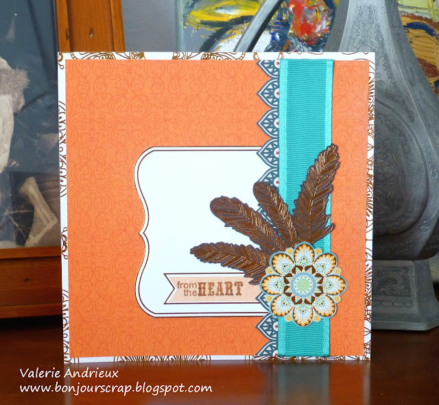 Gypsy orange and turquoise card with DCWV papers