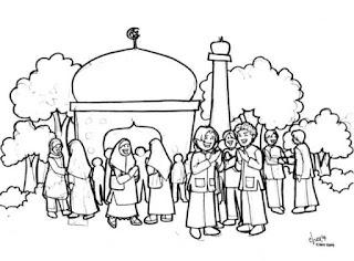 Gambar Sketsa Mewarnai Masjid Terbaru 201709