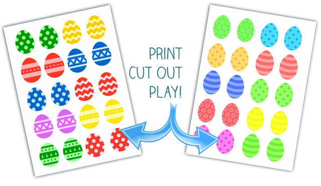 Easter egg matching game and 2 free printables for kids.