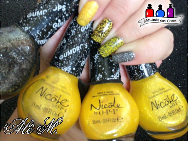 Nicole by OPI, Gumdrops, Lemon Lolly, A-Nise Treat, Yellow, Black, La Femme, Amarelo, Preto, Alê M., Konad Square 01