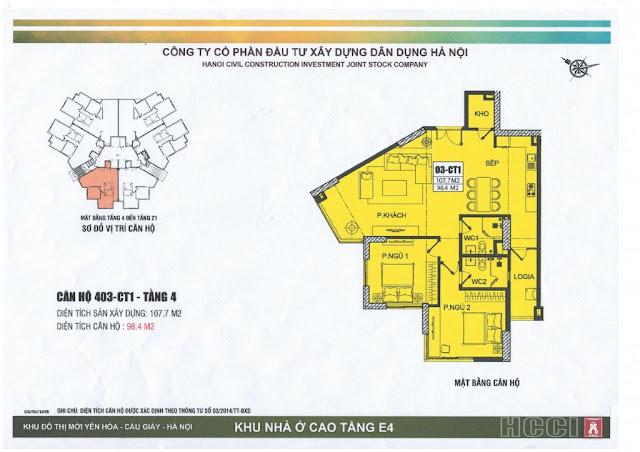 thiết kế căn số 3 tòa ct1 chung cư e4 yên hòa
