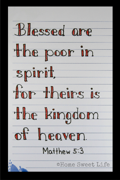 Scripture Writing, hand lettering, Matthew 5:3, Holy Week