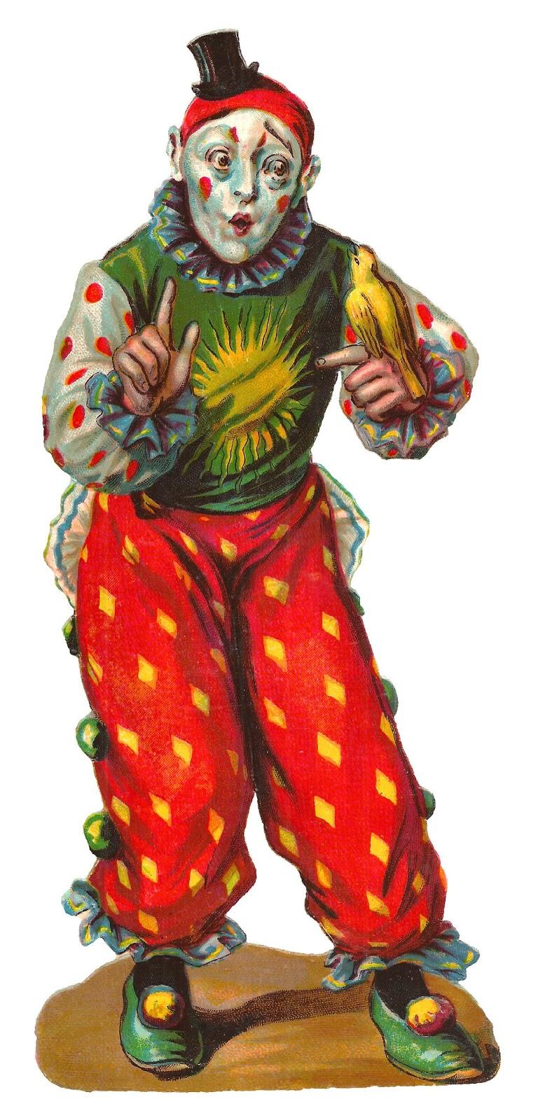Clown Circus Vintage Clipart Digital Download Illustration