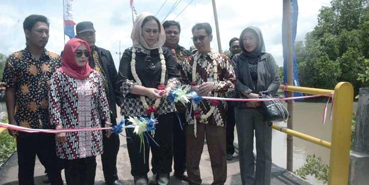 Bupati Karawang dr. Cellica Nurrachadiana menggunting pita tanda diremikannya jembatan.